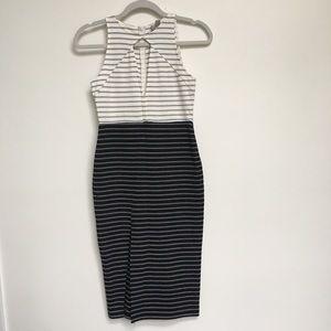 ASOS black and white striped midi dress